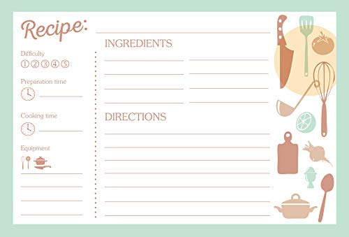 Set of 50 Recipe Cards | 4x6 Inches | Elegant Double-Sided Design! | Thick Premium Cardstock | Makes a Great Gift for an Aspiring or Professional Cook! ()
