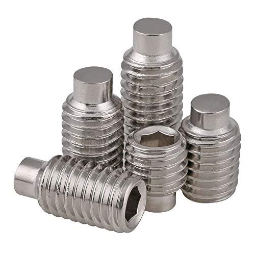 Mercury_Group Fasteners, GB97 DIN915 M3 M4 M5 M6 M8 304 Stainless Steel Terminal Grub Convex End Screw Hexagon Socket Set Screws with Dog Point HW197 - (Size:M3 (50PCS); Length:8mm)