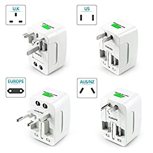 Insten Worldwide Universal Travel Adapter International [US UK EU AU] All-In-One Universal AC Fused Wall Plug Charger Compatible with Home Charging Ports/ iPhone 7 Plus/6S, Samsung Galaxy S7 Edge/ S7