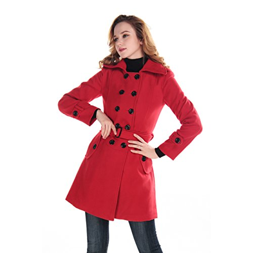 Fashion Women Wool Winter Double-breasted Trench Coat Plus Size Autumn Outerwear Small Red