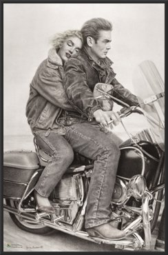 Amazoncom James Dean Marilyn Monroe Motorcycle Movie 24x36