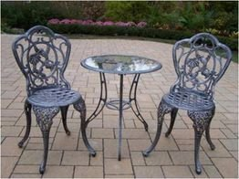 Oakland Living Hummingbird Cast Aluminum 24-Inch Glass Top Table with 3-Piece Bistro Set, Antique (3 Piece Glass Top Table)
