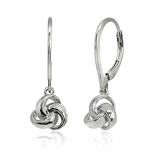 LOVVE Sterling Silver Polished Love Knot Ball Leverback Dangle Earrings by LOVVE