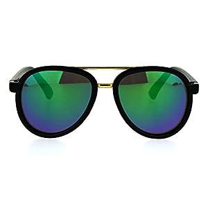 Kids Size Color Mirror Plastic Racer Aviator Sport Designer Fashion Sunglasses Black Teal
