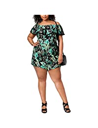 PlanetGold Womens Plus Printed Off-The-Shoulder Romper