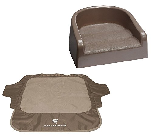 Prince Lionheart Booster Seat with Seat Neat Chair Cover, Brown
