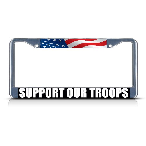 Support Our Troops License Plates - Fastasticdeals Support Our Troops Chrome Heavy Duty Metal License Plate Frame Tag