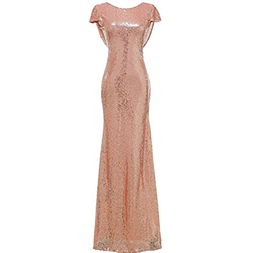 Rose gold bridesmaid dress amazon solovedress womens mermaid sequined long evening dress formal prom bridesmaid dress us 6 rose gold junglespirit Gallery