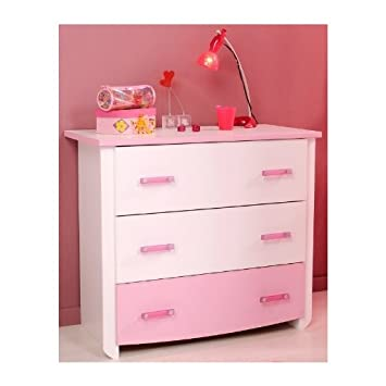 Commode 3 Tiroirs Blanche Et Rose Pour Chambre Fille CANDY