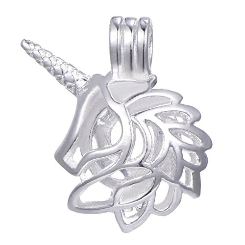 10pcs Unicorn Silver Plate Bead Cage Perfume Essential Oils Diffusing Locket Pendant Charms (B037)