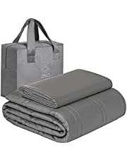 GnO Premium Adult Weighted Blanket & Removable Bamboo Cover - (20 Lbs - 60''x80'' Queen Size)- 100% Oeko Tex Certified Cooling Cotton & Glass Beads- Organic Heavy Blanket- Designed in USA - Dark Grey