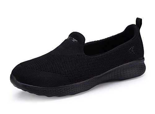 Women Slip-On Shoes Walking Loafer Sneakers Comfortable with Memory Foam Insole (8.5, Black)