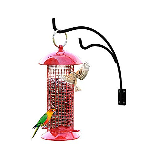 der and Hook, Classic Red Outdoor Hanging Tube Bird Feeder with 2 Metal Perches, Fits Suet Fat Ball Seed Nut, Weather Proof Anti-Bacterial, Double Forged Solid Metal Hook ()