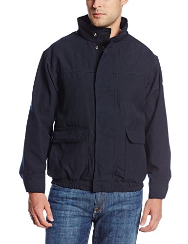 Nomex Iiia Snap - Bulwark Flame Resistant 6 oz Nomex IIIA Long Lined Bomber Jacket with Two-Layer Stand-up Collar, Two-Layer Concealed Snap Cuff, Navy, Large