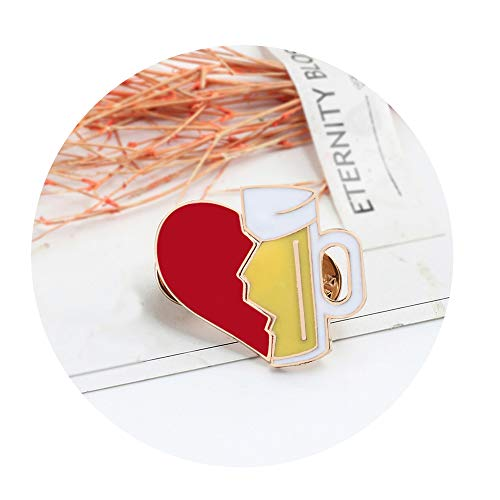 CAIYCAI Gifts 2Pcs/Set Broken Heart Wine Bottle Enamel Pins Love Brooch for Lover Denim Jackets Metal Badge Pin,Light Yellow Color ()
