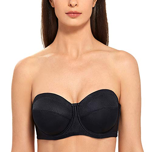 DELIMIRA Women's Underwire Ultra Support Convertible Strapless Bra Plus Size Multi-Way Black 36D ()
