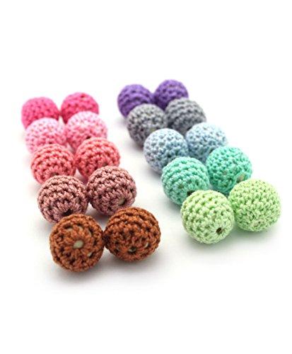 Ruby-Lote 20 bolas Crochet bola mordedor silicona para realizar collar, chupetero, color surtido. Silicona orgánica 100% apto para bebe, sin BPA ...