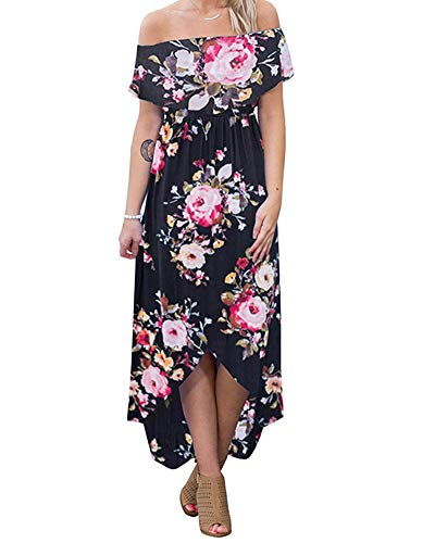 (lexiart Off Shoulder Bodycon Dress Strapless Flower Hawaiian Dress Beach Summer Black XL)