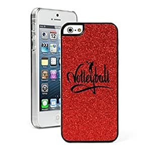 Apple iPhone 5c Glitter Bling Hard Case Cover Volleyball Calligraphy (Red)