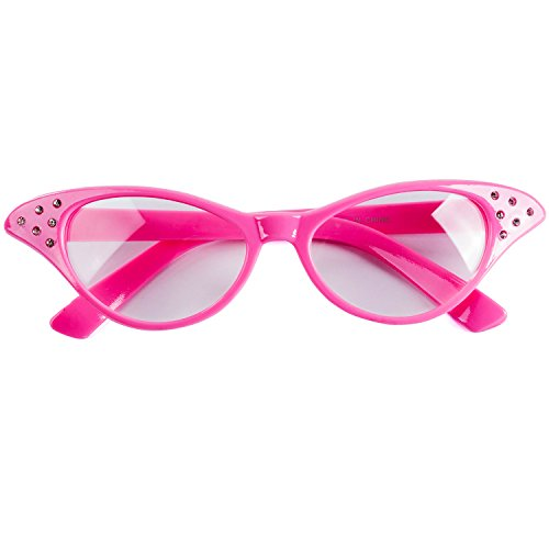 Funny Party Hats Pink Cat Eye Glasses - Pink Ladies - Grease Costume - 50s Costumes for Women - 50's & 60's Accessories - Cat Eye Glasses - Retro Costume Glasses for $<!--$6.99-->