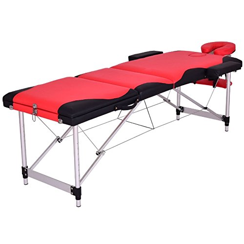 Red And Black 72''L Portable Massage Table Heavy Duty Aluminum Frame Salon SPA Chair Beauty Height Adjustable Foldable Table Tattoo Parlor Facial Bed Multi Purpose Professional Home Therapy by HPW
