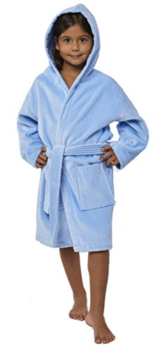 TurkishTowels Terry Velour Hooded Kids Bathrobe (Ages 3-6, Baby Blue)