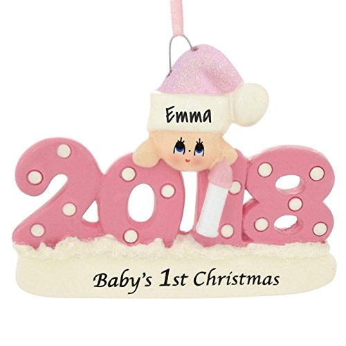 Baby's First Xmas Ornament 2018 - Pink/Girl - Includes Personalization by Rudolph and Me