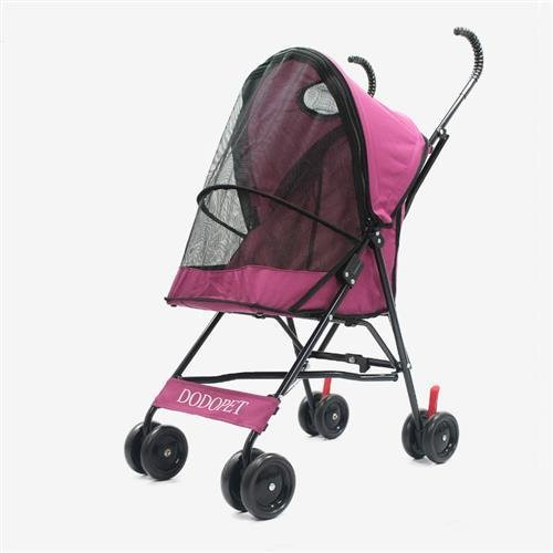 Paw Essentials Light Four Wheel Pet Carrier Stroller Cart for Cats and Dogs - Pink, up to 22lbs