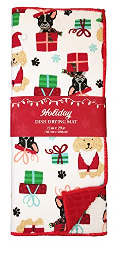 Christmas Pattern Countertops Microfiber Dish Drying Mat Reversible Assorted Designs (Christmas Pups) (Dishes Christmas Top)