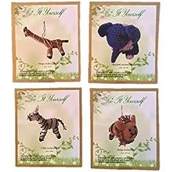 Crochet Kit Amigurumi 4 Piece Do It Yourself Animal Sets - Lion Giraffe Elephant Zebra