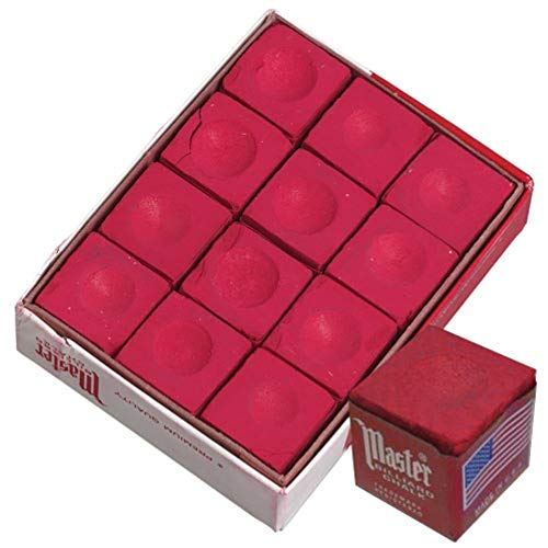- Master Red Billiard Cue Stick Chalk 1 Dozen