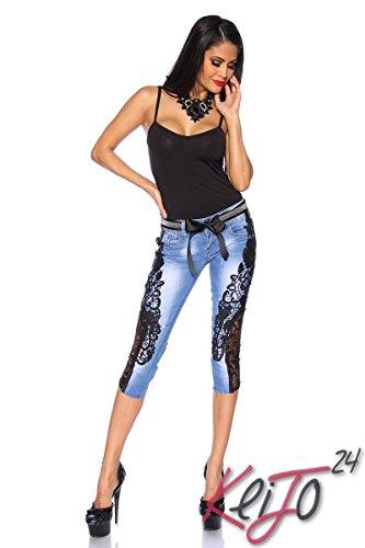 Atixo Capri-Jeans mit Spitze blau/schwarz, Größe Atixo:42