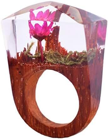 Handmade Wood Resin Rings Secret Pink Rose Flowers Inside Worlds Ring Jewelry for Women