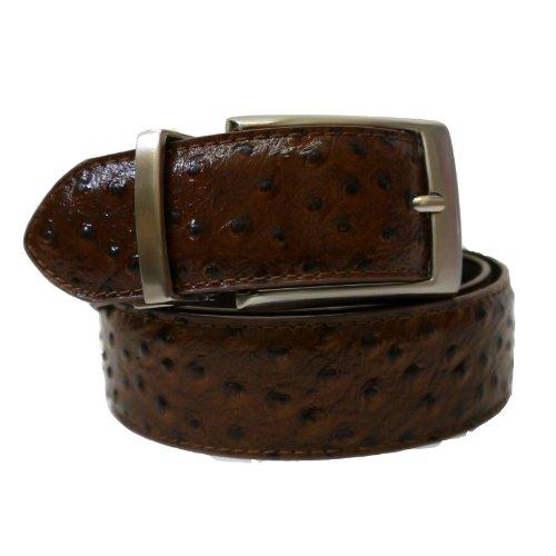 "Stacy Adams 34mm Genuine Leather Ostrich Leg Embossed Reversable Belt - Cognac/Brown40"""