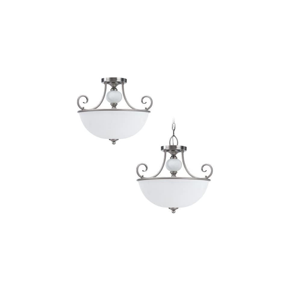 Sea Gull Lighting 51105 965 3 Light Montclaire Hall and Foyer Ceiling Light, Etched White Alabaster Glass and Antique Brushed Nickel