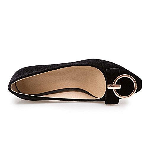 Punta di Puro Tirare Medio VogueZone009 Flats Ballet Nero Tacco Mucca Donna Pelle Quedrata wIaYHq8