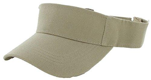 LA Gen Sales Plain Men Women Sport Outdoor Sun Visor Adjustable Cap (Khaki), Large