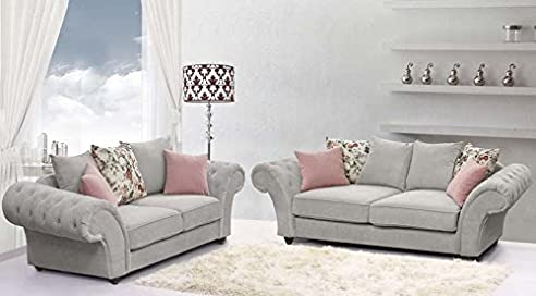 Chesterfield ecksofa stoff grau  Roma Chesterfield Sofa-Set in silber/grau Stoff 3 + 2: Amazon.de ...