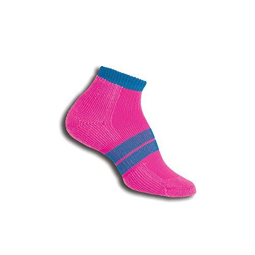 Socks Quarter Pink Ribbon (Thorlos Women's 84 N Running Thick Padded Low Cut Sock, electric pink, Small)