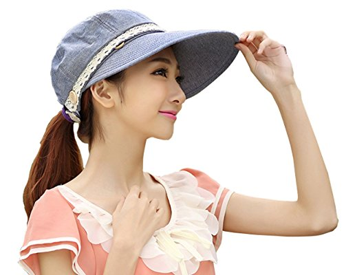 UPC 714367273037, Kaisifei Women's Visor Hat With Big Brim (Blue gray)