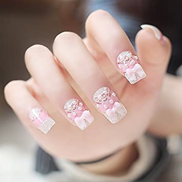 knstliche fingerngel false nail tips fake nails french style 3d pink und wei muster - Fingernagel Muster Einfach