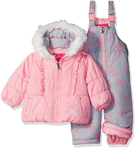 London Fog Baby Girls Snowsuit with Snowbib and Puffer Jacket, Light Pink Unicorn, 12MO