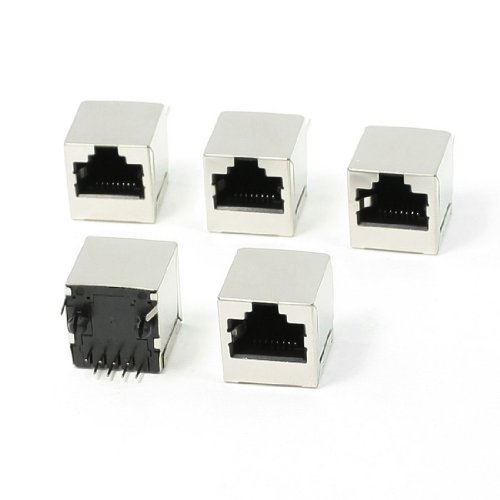uxcell 5 Pcs 8 Pin RJ45 Jack Vertical Port 16 x 15.5 x 16mm for Ethernet ()