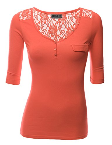 Doublju Women Buttoned Sleeveles Long Ruched ORANGE Jersey Top,Large,L