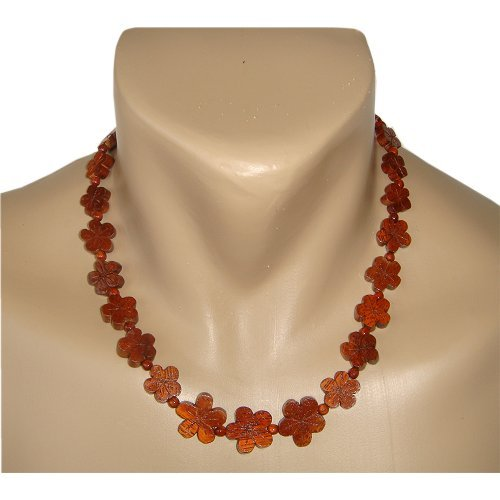 Hawaiian Koa Wood Plumeria Flower Graduated Necklace From Hawaii