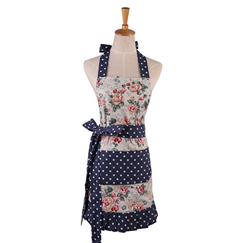 Women's Cotton Floral Apron with Pockets, Adjustable Long Ties for Kitchen Cooking, Baking and Gardening, 27x20 inch