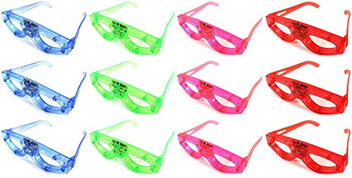 (12 Piece Light up Flashing Glasses for Kids Party Favors, (Red, Green, Blue, Pink) Individually Wrapped in Protective Plastic)
