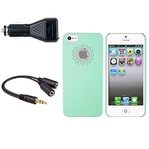 Menta verde coraz¨®n caso + negro coche cargador + Splitter para iPhone 5 5S