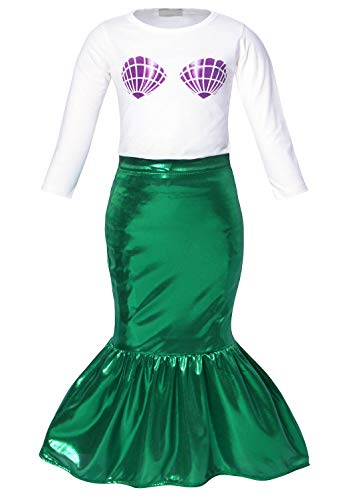 HenzWorld Little Mermaid Dress up Ariel Skirt Set Shell T-Shirt Girls Princess Beach Birthday Party Outfits -
