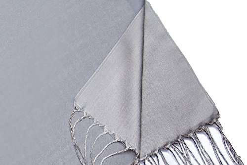 "Opulent Luxury Women Scarf Shawl Wrap Reversible 100% Silk Matte Soft Light Gray 70"" x 28"""